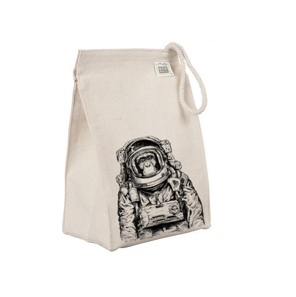 Reusable Lunch Sack, Astronaut Monkey, Space, Funny Animal Lunch Bag, Organic Cotton Canvas Lunch Box Tote Bag, Rope Handle Eco Friendly