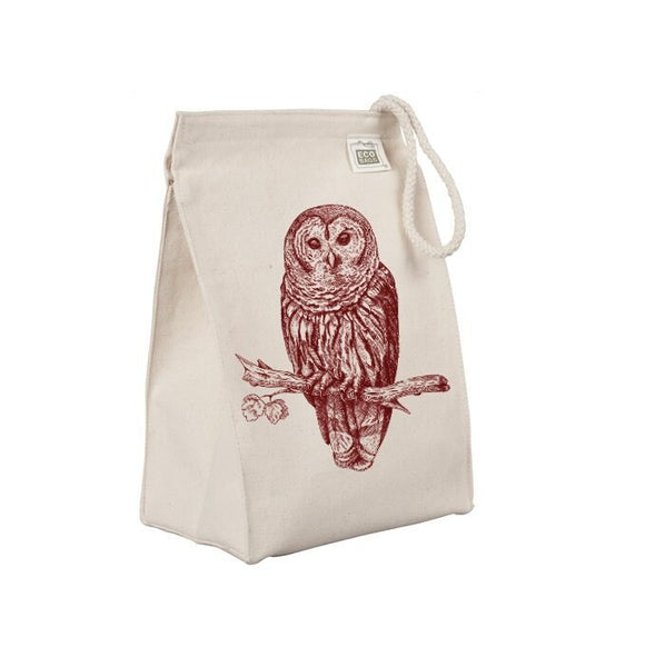 Reusable Lunch Sack, Owl Lunch Bag, Forest Animal, Woodland Critter, Organic Cotton Canvas Lunch Box Tote Bag Rope Handle Eco Friendly