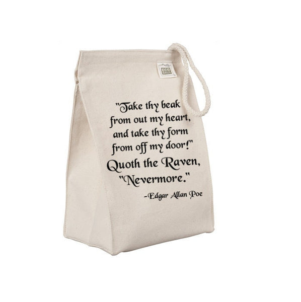 Reusable Lunch Sack, Edgar Allan Poe The Raven Poem Lunch Bag, Horror, Organic Cotton Canvas Lunch Box Tote Bag Rope Handle Eco Friendly