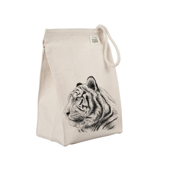Reusable Lunch Sack, Tiger Lunch Bag, Jungle Animal, Organic Cotton Canvas Lunch Box Tote Bag Rope Handle Eco Friendly