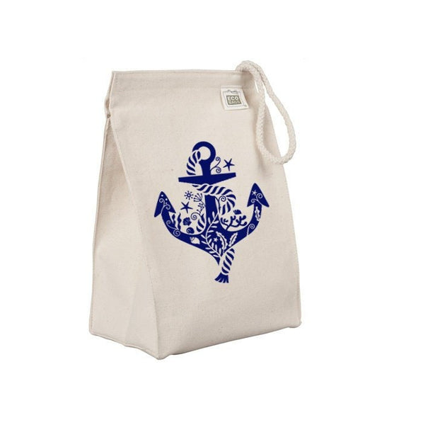Reusable Lunch Sack, Whimsical Anchor Lunch Bag, Nautical Sailing Boating, Organic Cotton Canvas Lunch Box Tote Bag Rope Handle Eco Friendly