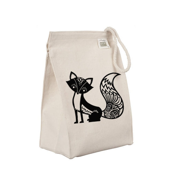 Reusable Lunch Sack, Whimsical Fox Lunch Bag, Forest Animal, Organic Cotton Canvas Lunch Box Tote Bag Rope Handle Eco Friendly