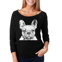 Slouchy Sweatshirt, French Bulldog Sweater, Frenchie, Lightweight 3/4 Sleeve Raw Edge Raglan Ringspun Cotton