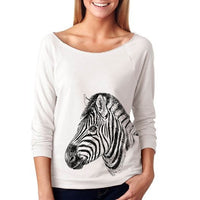Slouchy Sweatshirt, Zebra Sweatshirt, African Zoo Animal, Lightweight 3/4 Sleeve Raw Edge Raglan Ringspun Cotton