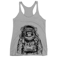 Monkey Astronaut Tank Top, Women's Triblend Racerback, Outer Space Monkey Tank, Funny Animal, Spaceman, Printed On Bella Canvas Tri Blend