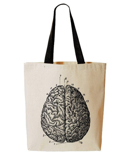 Anatomical Brain Tote Bag, Anatomy, Horror, Reusable Grocery Bag, Medical Tote, Beach Tote, Cotton Canvas Book Bag
