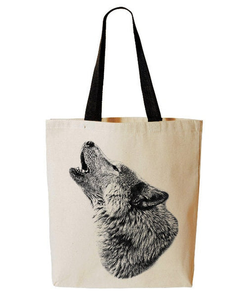 Howling Wolf Tote Bag, Wild Animal Tote, Reusable Grocery Bag, Wolf Beach Bag, Cotton Canvas Book Bag
