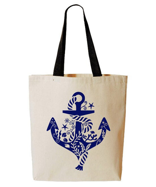 Whimsical Anchor Tote Bag, Nautical, Sailing, Boating, Reusable Grocery Bag, Beach Tote, Ocean, Cotton Canvas Book Bag