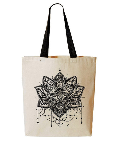 Lotus Tote Bag, Zen Yoga Tote, Lotus Flower, Buddhism, Reusable Grocery Bag, Beach Tote, Cotton Canvas Book Bag