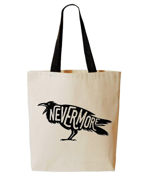 Nevermore Raven Tote Bag, Edgar Allan Poe, Horror, Poem, Poetry, Reusable Grocery Bag, Beach Tote, Cotton Canvas Book Bag