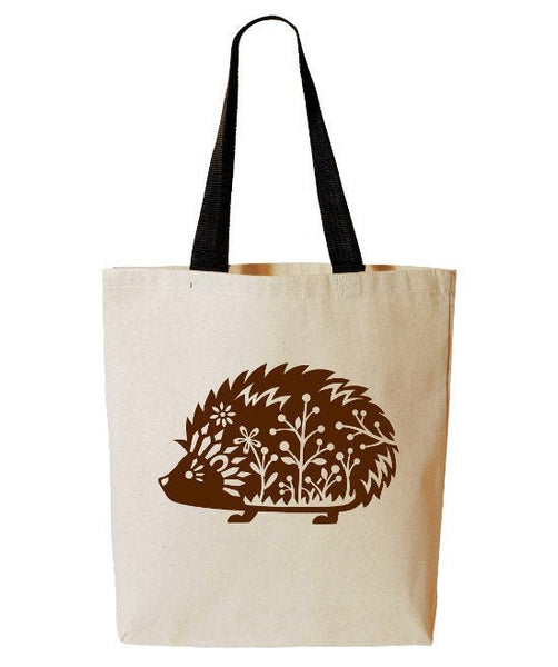 Whimsical Hedgehog Tote Bag, Hedgie, Forest Animal, Woodland Critter, Reusable Grocery Bag, Beach Tote, Cotton Canvas Book Bag