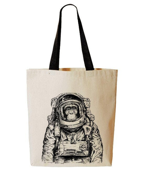 Astronaut Monkey Tote Bag, Space Monkey, Spaceman, Wanderlust, Funny, Beach Bag, Reusable Grocery Bag, Cotton Canvas Book Bag