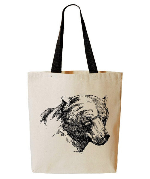 Bear Tote Bag, Forest Animal Tote, Reusable Grocery Bag, Beach Tote, Cotton Canvas Book Bag