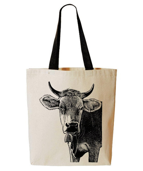 Cow Tote Bag, Funny Farm Animal Tote, Iowa, Farmers Market Reusable Grocery Bag, Cotton Canvas Book Bag