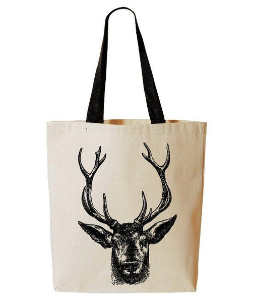 Deer Tote Bag, Forest Animal Tote, Hunting Tote, Buck, Reusable Grocery Bag, Beach, Cotton Canvas Book Bag