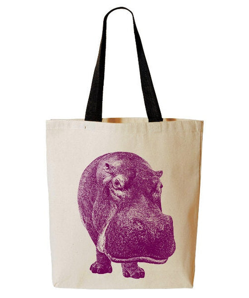 Funny Hippo Tote Bag, African Animal Tote, Safari, Beach Bag, Reusable Grocery Bag, Cotton Canvas Book Bag