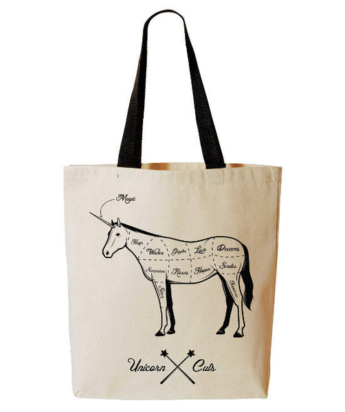 Unicorn Meat Cuts Tote Bag, Funny Unicorn Tote, Butcher Gift, Reusable Grocery Bag, Beach, Cotton Canvas Book Bag