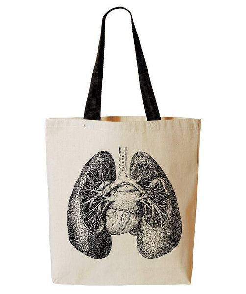 Anatomical Lungs Tote Bag, Human Anatomy Tote, Horror, Reusable Grocery Bag, Halloween Trick Or Treat Tote, Beach, Cotton Canvas Book Bag