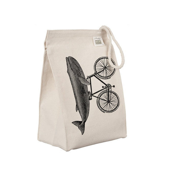 Reusable Lunch Sack, Funny Whale Lunch Bag, Ocean Animal, Riding Bicycle, Organic Cotton Canvas Lunch Box Tote Bag, Rope Handle Eco Friendly