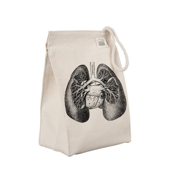 Reusable Lunch Sack, Anatomical Lungs Lunch Bag, Organic Cotton Canvas Lunch Box Tote Bag, Anatomy, Medical Horror, Rope Handle Eco Friendly