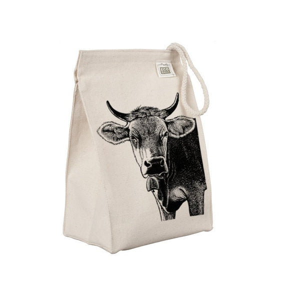 Reusable Lunch Sack, Farm Animal Cow Lunch Bag, Funny, Iowa, Organic Cotton Canvas Lunch Box, Tote Bag, Rope Handle, Eco Friendly
