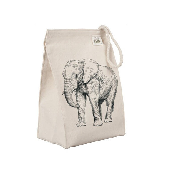Reusable Lunch Sack, Elephant Lunch Bag, African Safari Animal Organic Cotton Canvas Lunch Box Tote Bag, Rope Handle Eco Friendly