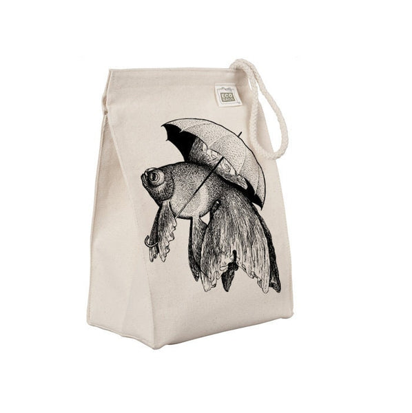 Reusable Lunch Sack, Funny Fish Lunch Bag, Ocean Animal Goldfish Umbrella, Organic Cotton Canvas Lunch Box Tote Bag Rope Handle Eco Friendly