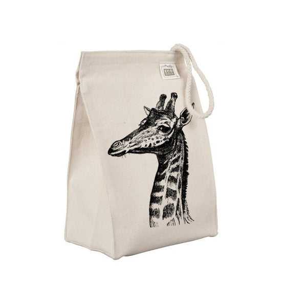 Reusable Lunch Sack, Giraffe Lunch Tote, African Safari Animal Lunch Bag, Organic Cotton Canvas Lunch Box, Rope Handle, Eco Friendly