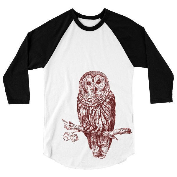 Owl T Shirt, Baseball Tee, Forest Animal Bird Tshirt, Woodland Critter, 3/4 Sleeve Raglan, Adult, Kids, Baby One Piece