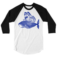 Funny Whale T Shirt, Butterfly Wings, Flying Whale Baseball Tee, Silly Ocean Animal Tshirt, 3/4 Sleeve Raglan, Adult, Kids, Baby One Piece