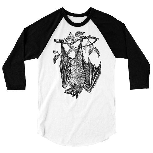 Flying Fox Bat T Shirt, Baseball Tee, Animal, Giant Fruit Bat Tshirt, 3/4 Sleeve Raglan, Adult, Kids, Baby One Piece