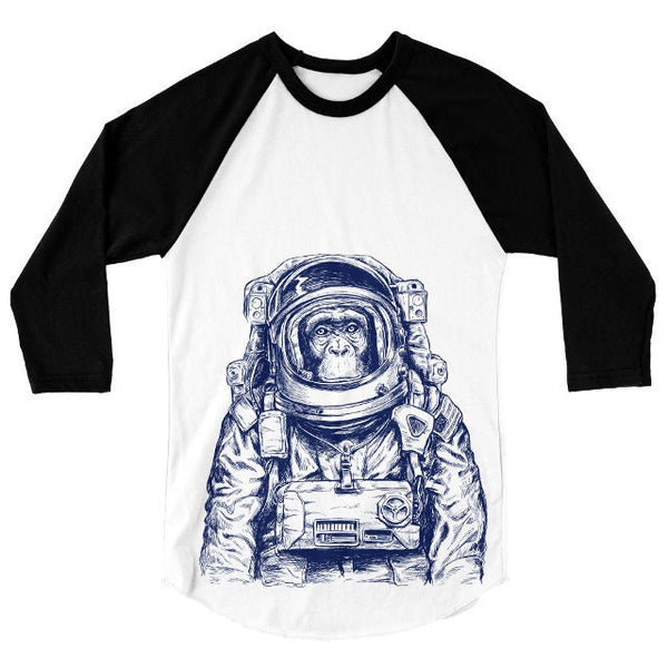 Astronaut Monkey T Shirt, Funny Animal Tshirt, Wanderlust Baseball Tee, Spaceman, Space, 3/4 Sleeve Raglan, Adult, Kids Baby One Piece