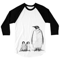 Penguin T Shirt, Arctic Animal Tshirt, Family of Penguins Baseball Tee, 3/4 Sleeve Raglan, Adult, Kids Baby One Piece