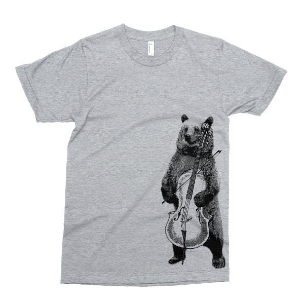 Bear Playing Cello T Shirt, Printed on Soft Ringspun Cotton, Musical Bear Tshirt, Funny Hipster Animal Tee, Mens Womens Kids Baby