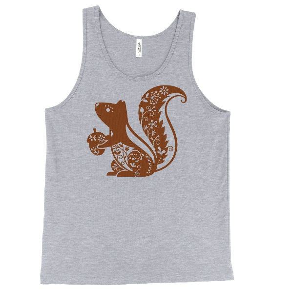 Whimsical Squirrel Tank Top, Forest Animal Tank, Woodland Critter, Printed On Bella Canvas, Mens, Unisex