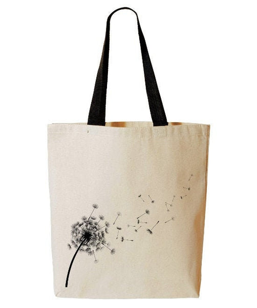 Dandelion Tote Bag, Wish Tote, Seeds Blowing In The Wind, Inspirational, Reusable Grocery Bag, Beach, Cotton Canvas Book Bag