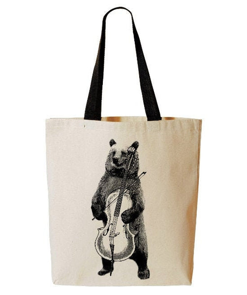 Bear Playing Cello Tote Bag, Funny Animal Tote, Music, Band, Reusable Grocery Bag, Beach Tote, Cotton Canvas Book Bag