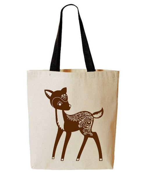 Whimsical Deer Tote Bag, Forest Animal, Woodland Critter, Reusable Grocery Bag, Beach Tote, Cotton Canvas Book Bag