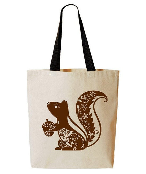 Whimsical Squirrel Tote Bag, Forest Animal, Woodland Critter, Reusable Grocery Bag, Beach Tote, Cotton Canvas Book Bag