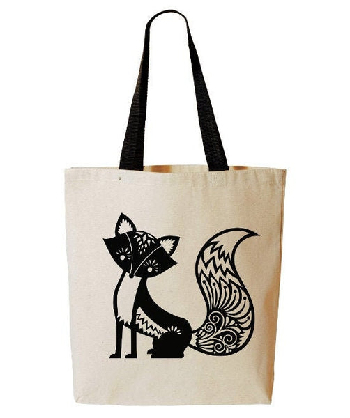 Whimsical Fox Tote Bag, Woodland Critter, Cute Fox Bag, Forest Animal, Reusable Grocery Bag, Beach Tote, Cotton Canvas Book Bag