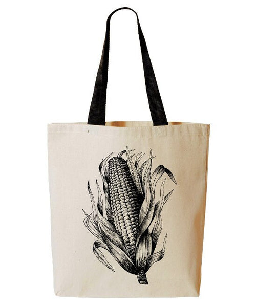 Farmers Market Tote Bag, Corn Tote, Iowa, Reusable Grocery Bag, Farmers Market Cotton Canvas Book Bag