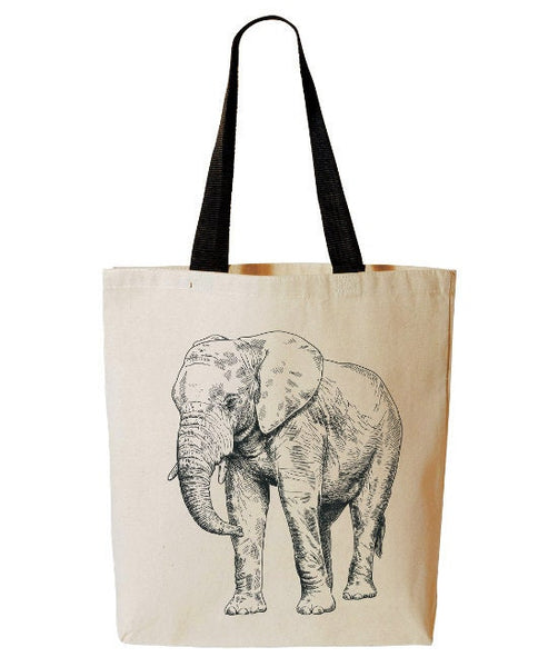 Elephant Tote Bag, African Animal Tote, Safari, Beach Bag, Reusable Grocery Bag, Cotton Canvas Book Bag