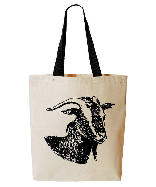 Goat Tote Bag, Funny Farm Animal Tote, Iowa, Farmers Market Reusable Grocery Bag, Cotton Canvas Book Bag