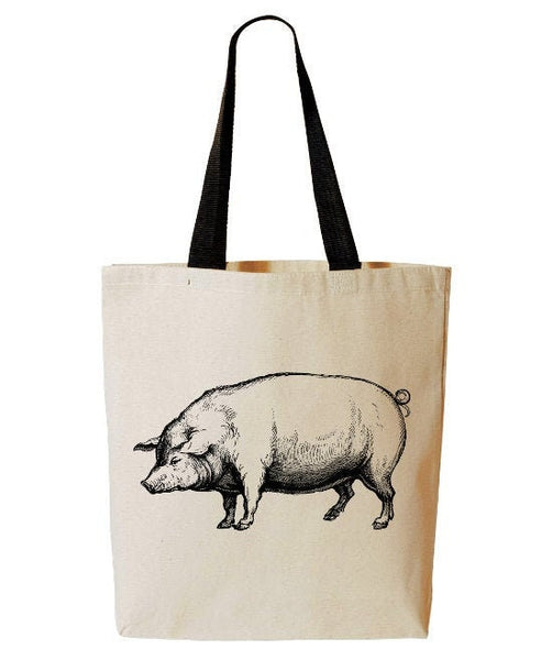 Pig Tote Bag, Farm Animal Tote, Iowa, Farmers Market Reusable Grocery Bag, Cotton Canvas Book Bag
