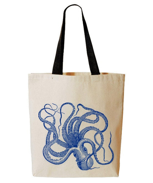 Octopus Tote Bag, Kraken Beach Tote, Ocean Animal, Reusable Grocery Bag, Cotton Canvas Book Bag