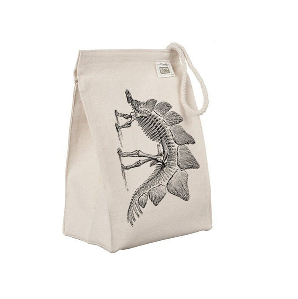 Reusable Lunch Sack, Dinosaur Lunch Bag, Stegosaurus Skeleton Bones Fossil Organic Cotton Canvas Lunch Box Tote Bag Rope Handle Eco Friendly