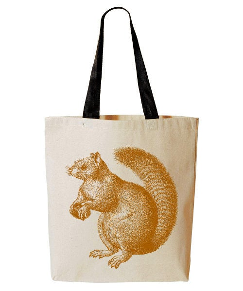 Squirrel Tote Bag, Forest Animal Tote, Reusable Grocery Bag, Woodland Critter Beach Tote, Cotton Canvas Book Bag