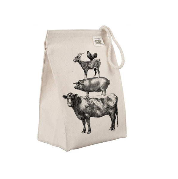 Reusable Lunch Sack Farm Animal Lunch Bag, Funny Iowa Chicken Goat Pig Cow Organic Cotton Canvas Lunch Box Tote Bag Rope Handle Eco Friendly