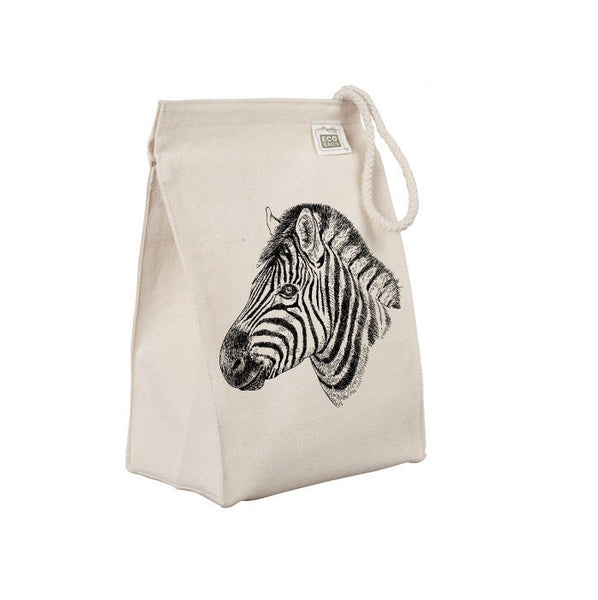 Reusable Lunch Sack, Zebra Lunch Tote, African Safari Animal Lunch Bag, Organic Cotton Canvas Lunch Box, Rope Handle, Eco Friendly