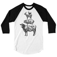 Stack of Farm Animals T Shirt or One Piece, Baseball Tee, Funny Tshirt, Chicken Cow Goat Pig, 3/4 Sleeve Raglan, Adult, Kids, Baby